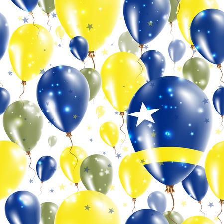 Curacao onafhankelijkheidsdag naadloze patroon. Vliegende rubberen ballonnen in de kleuren van de Nederlandse vlag. Happy Curacao Day Patriotic Card met ballonnen, sterren en Sparkles.