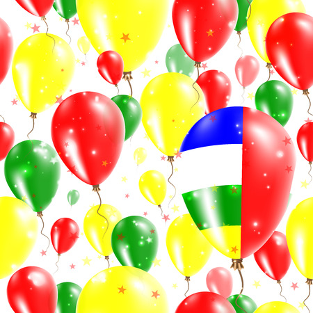 CAR Independence Day Seamless Pattern. Flying Rubber Balloons in Colors of the Central African Flag.