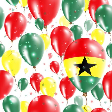 Ghana Independence Day Seamless Pattern. Flying Rubber Balloons in Colors of the Ghanaian Flag.