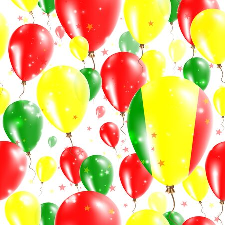 agleam: Mali Independence Day Seamless Pattern. Flying Rubber Balloons in Colors of the Malian Flag. Happy Mali Day Patriotic Card with Balloons, Stars and Sparkles.