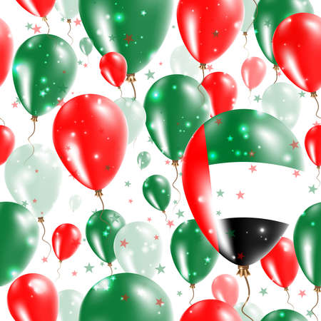 UAE Independence Day Seamless Pattern. Flying Rubber Balloons in Colors of the Emirian Flag. Happy UAE Day Patriotic Card with Balloons, Stars and Sparkles. Illustration