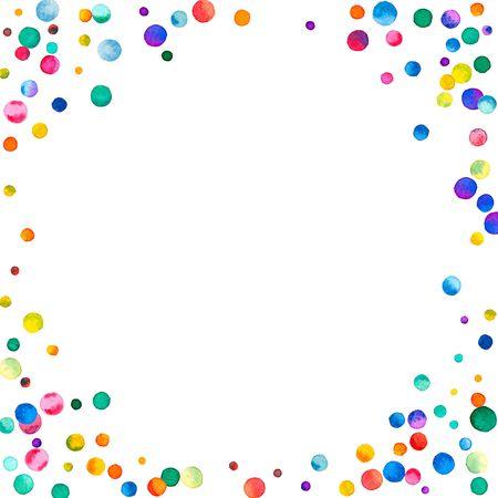 Coriandoli dell'acquerello sparsi su priorità bassa bianca. Cornice ad angolo di coriandoli acquerello colorato arcobaleno. Illustrazione dipinta a mano colorata.