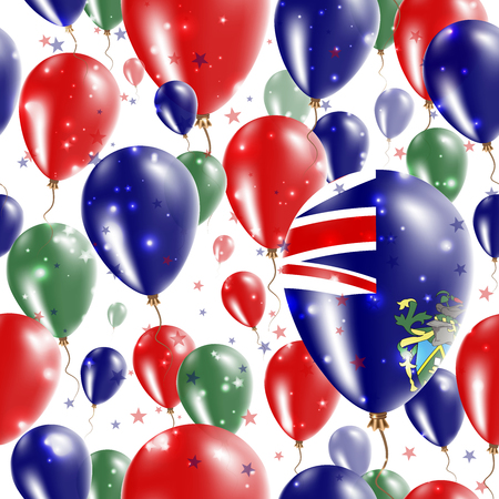 pitcairn: Pitcairn Independence Day Seamless Pattern. Flying Rubber Balloons in Colors of the Pitcairn Islander Flag. Happy Pitcairn Day Patriotic Card with Balloons, Stars and Sparkles.