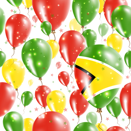 operative: Guyana Independence Day Seamless Pattern. Flying Rubber Balloons in Colors of the Guyanese Flag. Happy Guyana Day Patriotic Card with Balloons, Stars and Sparkles.