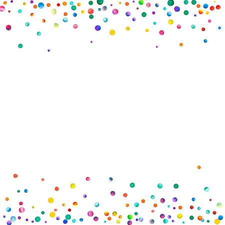 Dense watercolor confetti on white background. Rainbow colored watercolor confetti borders. Colorful hand painted illustration. Stock Photo