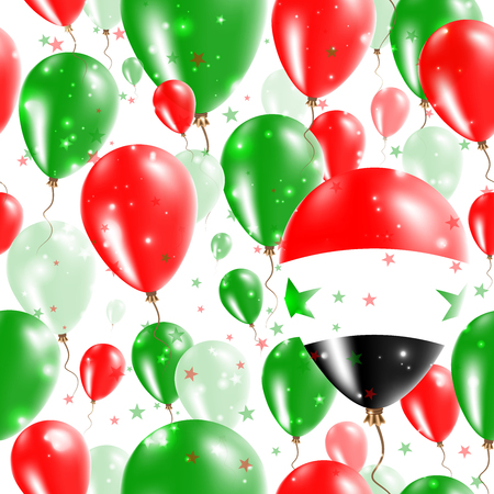 Syria Independence Day Seamless Pattern. Flying Rubber Balloons in Colors of the Syrian Flag. Happy Syria Day Patriotic Card with Balloons, Stars and Sparkles.