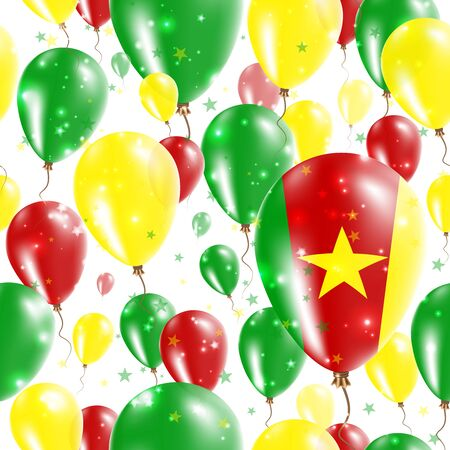 Cameroon Independence Day Seamless Pattern. Flying Rubber Balloons in Colors of the Cameroonian Flag. Happy Cameroon Day Patriotic Card with Balloons, Stars and Sparkles.