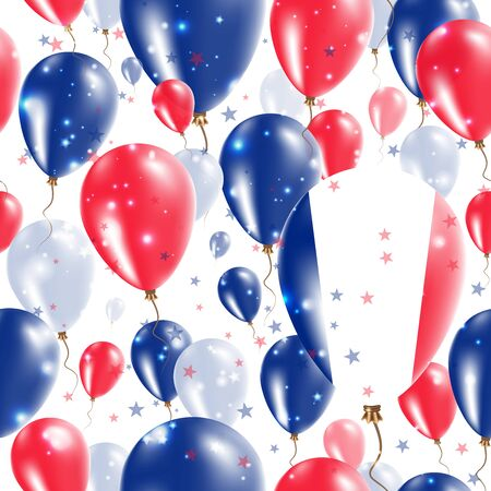 France Independence Day Seamless Pattern. Flying Rubber Balloons in Colors of the French Flag. Happy France Day Patriotic Card with Balloons, Stars and Sparkles.
