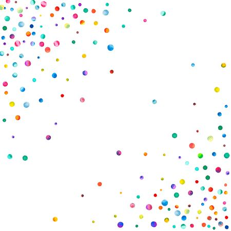Dense watercolor confetti on white background. Rainbow colored watercolor confetti abstract chaotic scatter. Colorful hand painted illustration.