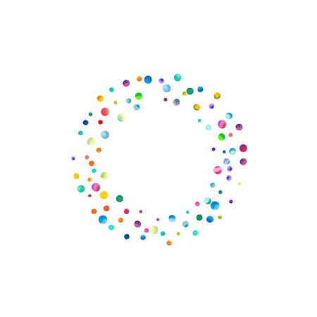 Dense watercolor confetti on white background. Rainbow colored watercolor confetti smal bagel. Colorful hand painted illustration.