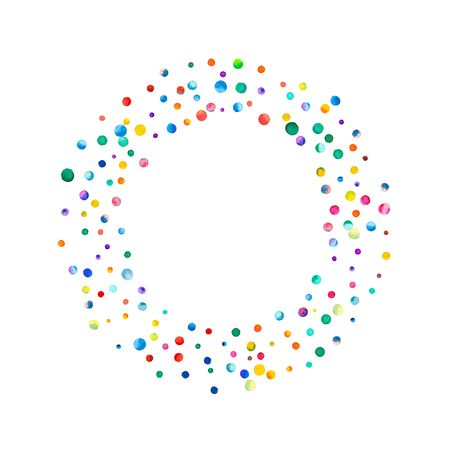 pied: Dense watercolor confetti on white background. Rainbow colored watercolor confetti bagel shape. Colorful hand painted illustration.