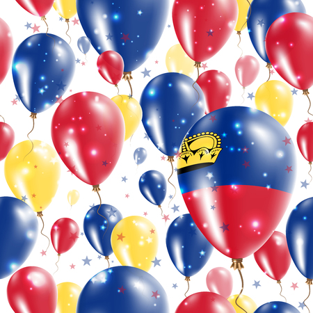 independency: Liechtenstein Independence Day Seamless Pattern. Flying Rubber Balloons in Colors of the Liechtensteiner Flag. Happy Liechtenstein Day Patriotic Card with Balloons, Stars and Sparkles.