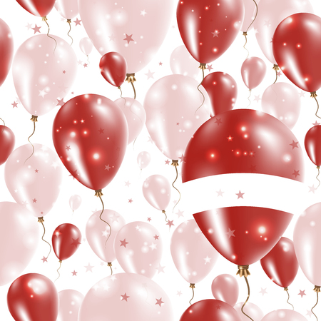 Latvia Independence Day Seamless Pattern. Flying Rubber Balloons in Colors of the Latvian Flag. Happy Latvia Day Patriotic Card with Balloons, Stars and Sparkles.