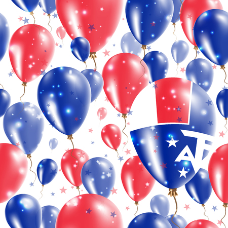 TAAF Independence Day Seamless Pattern. Flying Rubber Balloons in Colors of the French Flag. Happy TAAF Day Patriotic Card with Balloons, Stars and Sparkles.