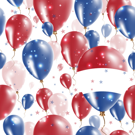 BES islands Independence Day Seamless Pattern. Flying Rubber Balloons in Colors of the Dutch Flag. Happy BES islands Day Patriotic Card with Balloons, Stars and Sparkles. Illustration