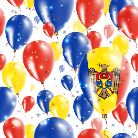 Moldova Independence Day Seamless Pattern. Flying Rubber Balloons in Colors of the Moldovan Flag. Happy Moldova Day Patriotic Card with Balloons, Stars and Sparkles.
