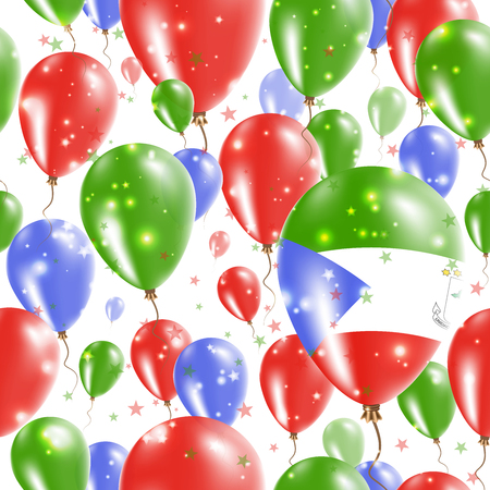 Equatorial Guinea Independence Day Seamless Pattern. Flying Rubber Balloons in Colors of the Equatorial Guinean Flag. Happy Equatorial Guinea Day Patriotic Card with Balloons, Stars and Sparkles. Illustration
