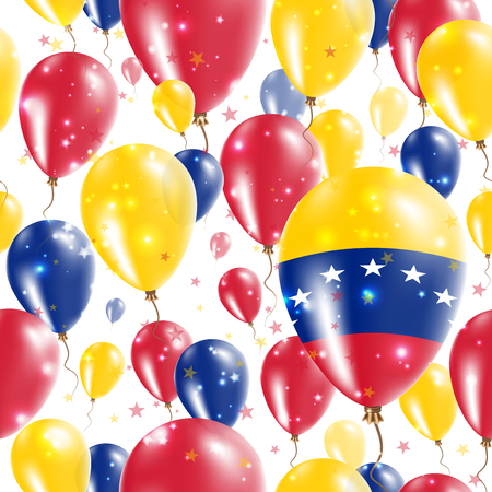 proclamation: Venezuela Independence Day Seamless Pattern. Flying Rubber Balloons in Colors of the Venezuelan Flag. Happy Venezuela Day Patriotic Card with Balloons, Stars and Sparkles.