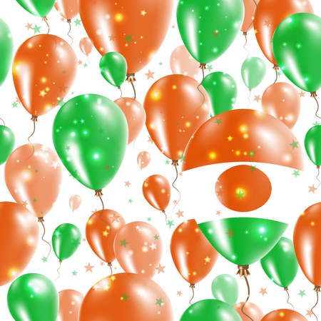 Niger Independence Day Seamless Pattern. Flying Rubber Balloons in Colors of the Nigerian Flag. Happy Niger Day Patriotic Card with Balloons, Stars and Sparkles.