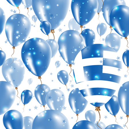 Greece Independence Day Seamless Pattern. Flying Rubber Balloons in Colors of the Greek Flag. Happy Greece Day Patriotic Card with Balloons, Stars and Sparkles.