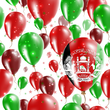 Afghanistan Independence Day Seamless Pattern. Flying Rubber Balloons in Colors of the Afghan Flag. Happy Afghanistan Day Patriotic Card with Balloons, Stars and Sparkles.