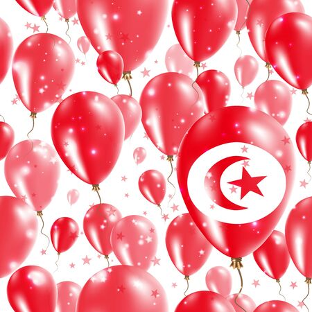 Tunisia Independence Day Seamless Pattern. Flying Rubber Balloons in Colors of the Tunisian Flag. Happy Tunisia Day Patriotic Card with Balloons, Stars and Sparkles.