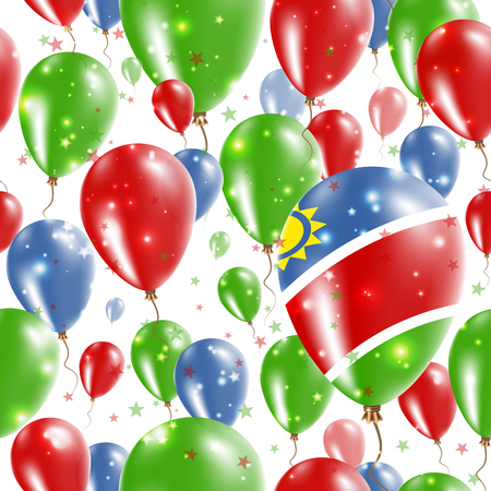 Namibia Independence Day Seamless Pattern. Flying Rubber Balloons in Colors of the Namibian Flag. Happy Namibia Day Patriotic Card with Balloons, Stars and Sparkles.
