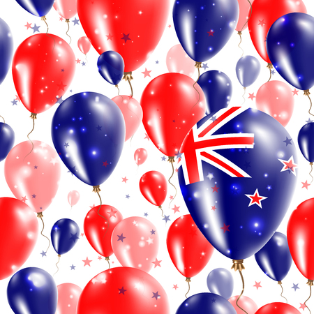New Zealand Independence Day Seamless Pattern. Flying Rubber Balloons in Colors of the New Zealander Flag. Happy New Zealand Day Patriotic Card with Balloons, Stars and Sparkles. Illustration