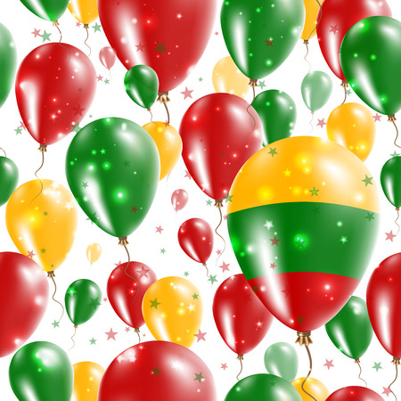 Lithuania Independence Day Seamless Pattern. Flying Rubber Balloons in Colors of the Lithuanian Flag. Happy Lithuania Day Patriotic Card with Balloons, Stars and Sparkles.