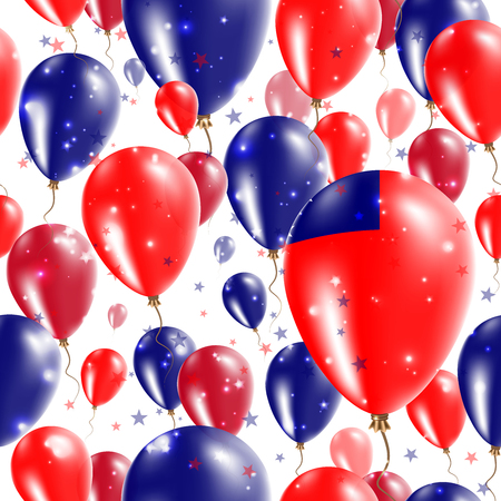 Samoa Independence Day Seamless Pattern. Flying Rubber Balloons in Colors of the Samoan Flag. Happy Samoa Day Patriotic Card with Balloons, Stars and Sparkles.