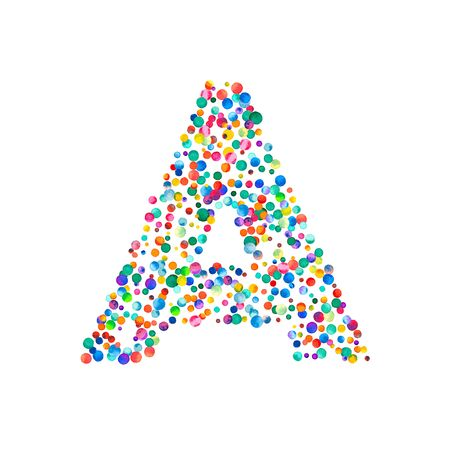 uppercase: Letter a filled with dense watercolor confetti on white background. Colorful bright hand painted alphabet. Happy alphabet made of dense watercolor confetti.