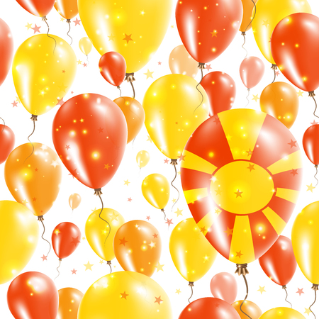 A Macedonia Independence Day Seamless Pattern. Flying Rubber Balloons in Colors of the Macedonian Flag. Happy Macedonia Day Patriotic Card with Balloons, Stars and Sparkles.