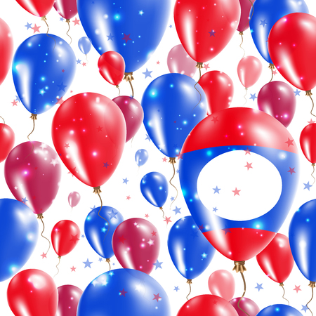 declaration of independence: Laos Independence Day Seamless Pattern. Flying Rubber Balloons in Colors of the Laotian Flag. Happy Laos Day Patriotic Card with Balloons, Stars and Sparkles.