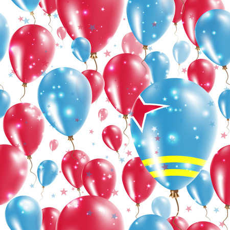 Aruba Independence Day Seamless Pattern. Flying Rubber Balloons in Colors of the Aruban Flag. Happy Aruba Day Patriotic Card with Balloons, Stars and Sparkles.