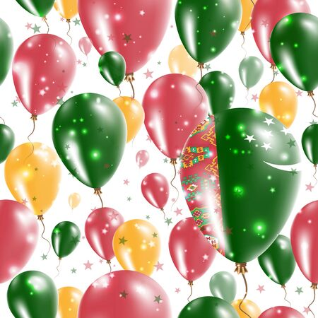 rite: Turkmenistan Independence Day Seamless Pattern. Flying Rubber Balloons in Colors of the Turkmen Flag. Happy Turkmenistan Day Patriotic Card with Balloons, Stars and Sparkles. Illustration