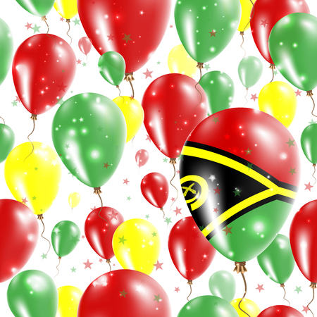 Vanuatu Independence Day Seamless Pattern. Flying Rubber Balloons in Colors of the Ni-Vanuatu Flag. Happy Vanuatu Day Patriotic Card with Balloons, Stars and Sparkles.