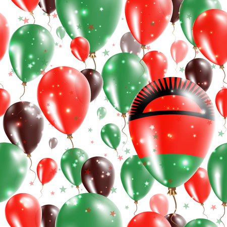mal: Malawi Independence Day Seamless Pattern. Flying Rubber Balloons in Colors of the Malawian Flag. Happy Malawi Day Patriotic Card with Balloons, Stars and Sparkles.