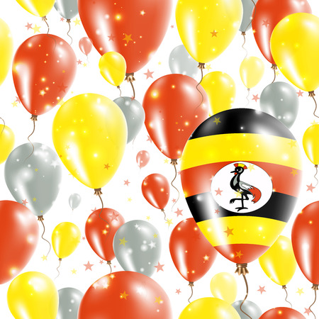 Uganda Independence Day Seamless Pattern. Flying Rubber Balloons in Colors of the Ugandan Flag. Happy Uganda Day Patriotic Card with Balloons, Stars and Sparkles. Illustration