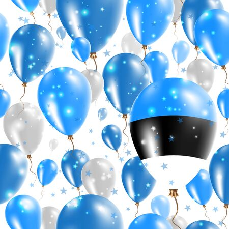 Estonia Independence Day Seamless Pattern. Flying Rubber Balloons in Colors of the Estonian Flag. Happy Estonia Day Patriotic Card with Balloons, Stars and Sparkles.