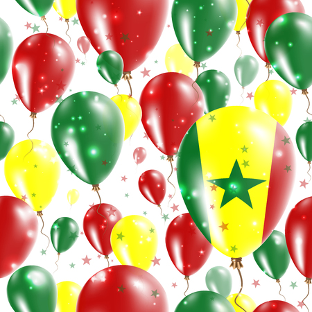 Senegal Independence Day Seamless Pattern. Flying Rubber Balloons in Colors of the Senegalese Flag. Happy Senegal Day Patriotic Card with Balloons, Stars and Sparkles.