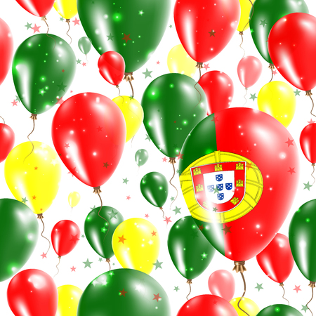 Portugal Independence Day Seamless Pattern. Flying Rubber Balloons in Colors of the Portuguese Flag. Happy Portugal Day Patriotic Card with Balloons, Stars and Sparkles. Illustration