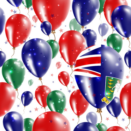 br: Virgin Islands (UK) Independence Day Seamless Pattern. Flying Rubber Balloons in Colors of the Virgin Islander Flag. Happy Virgin Islands (UK) Day Patriotic Card with Balloons, Stars and Sparkles. Illustration