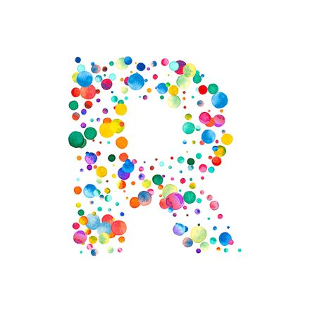 uppercase: Letter r filled with sparse watercolor confetti on white background. Colorful bright hand painted alphabet. Happy alphabet made of sparse watercolor confetti. Stock Photo