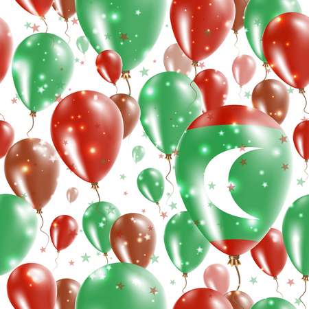 Maldives Independence Day Seamless Pattern. Flying Rubber Balloons in Colors of the Maldivan Flag. Happy Maldives Day Patriotic Card with Balloons, Stars and Sparkles. Illustration