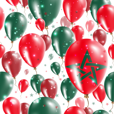 Morocco Independence Day Seamless Pattern. Flying Rubber Balloons in Colors of the Moroccan Flag. Happy Morocco Day Patriotic Card with Balloons, Stars and Sparkles.