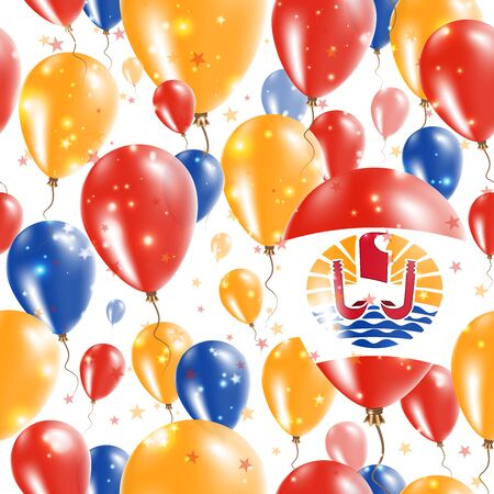 French Polynesia Independence Day Seamless Pattern. Flying Rubber Balloons in Colors of the French Polynesian Flag. Happy French Polynesia Day Patriotic Card with Balloons, Stars and Sparkles.