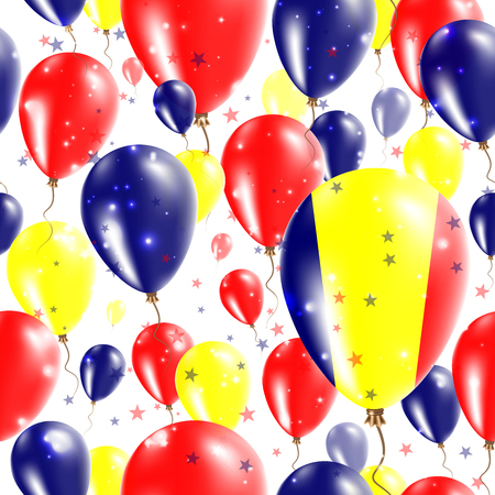 Chad Independence Day Seamless Pattern. Flying Rubber Balloons in Colors of the Chadian Flag. Happy Chad Day Patriotic Card with Balloons, Stars and Sparkles.