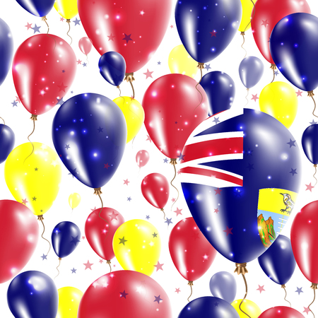 Saint Helena Independence Day Seamless Pattern. Flying Rubber Balloons in Colors of the Saint Helenian Flag. Happy Saint Helena Day Patriotic Card with Balloons, Stars and Sparkles.
