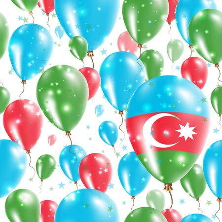 Azerbaijan Independence Day Seamless Pattern. Flying Rubber Balloons in Colors of the Azerbaijani Flag. Happy Azerbaijan Day Patriotic Card with Balloons, Stars and Sparkles. Illustration
