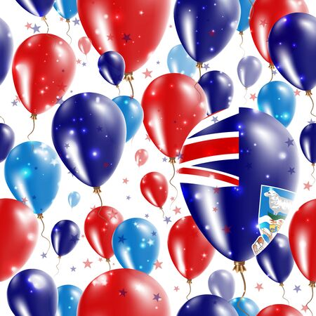 liberation: Falklands Independence Day Seamless Pattern. Flying Rubber Balloons in Colors of the Falkland Islander Flag. Happy Falklands Day Patriotic Card with Balloons, Stars and Sparkles.